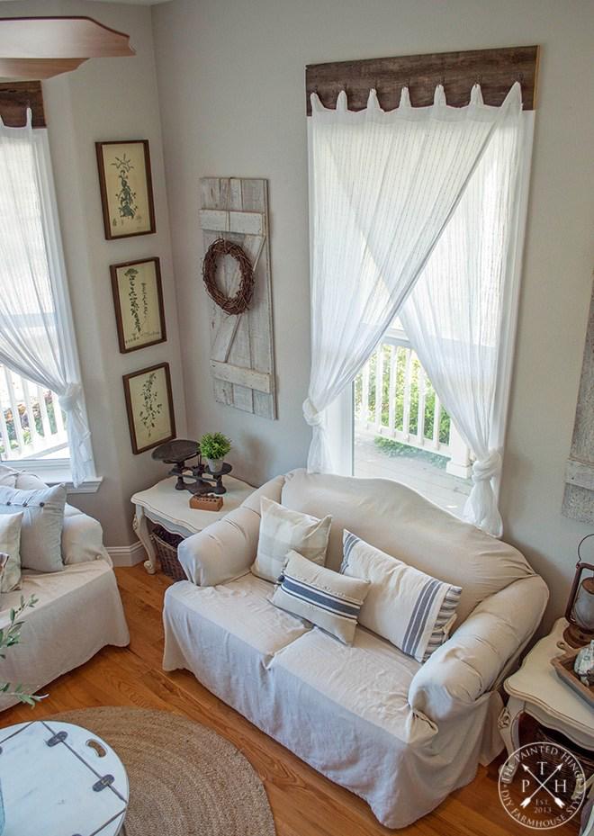 Farmhouse Window Treatments with Reclaimed Wood | Window ... on Farmhouse Dining Room Curtain Ideas  id=82306
