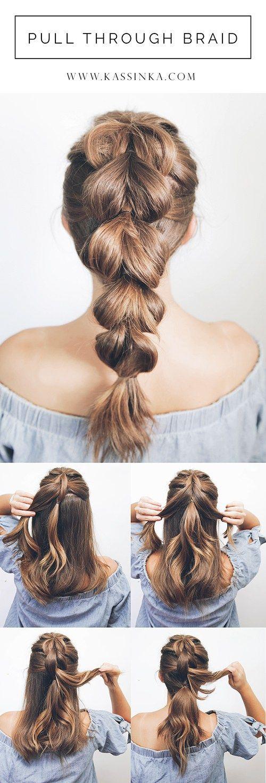 Pull Through Braid Tutorial With Shorter Hair Kassinka Thick Hair Styles Medium Simple Prom Hair Thick Hair Styles