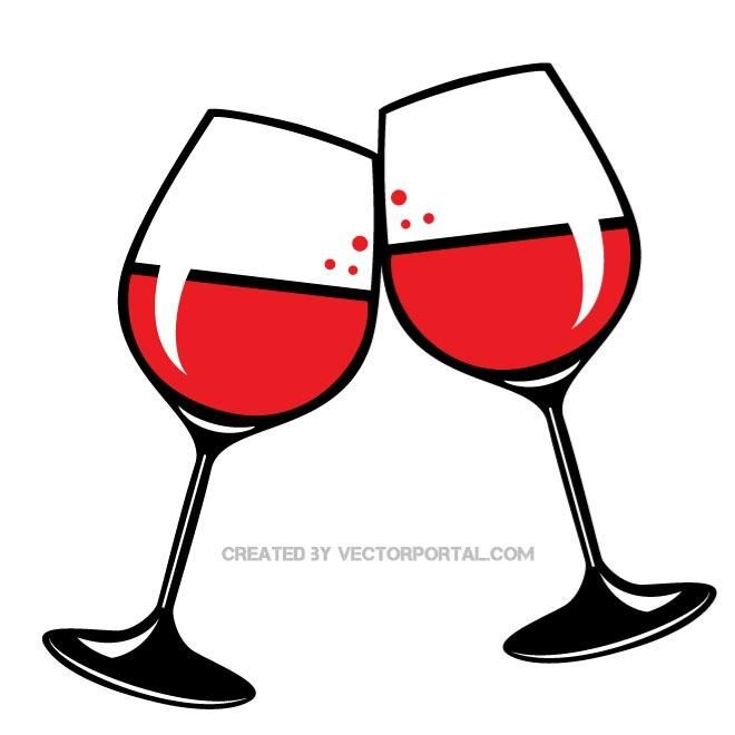 glasses of red wine vector clip art. | food and drink vectors