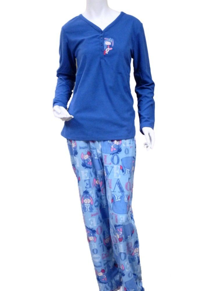 Disney Pooh Bear Womens Eeyore Pajamas Blue Fleece Piglet Sleep Set Lounge  Pants 1633563c6673