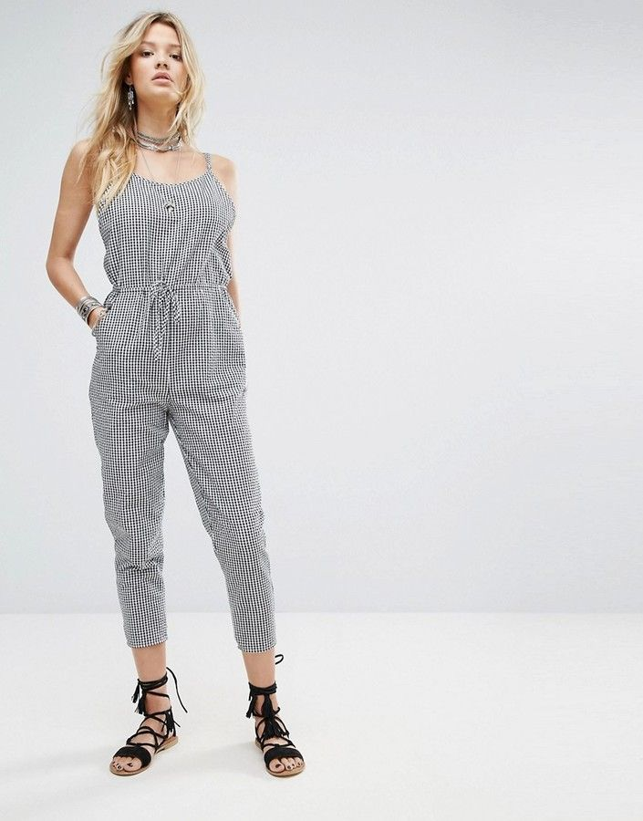 24ede54bd0ee Honey Punch Relaxed Cami Jumpsuit In Gingham