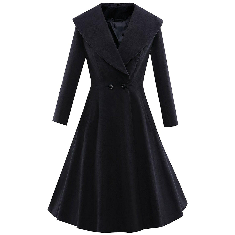 Women S 1950 S Long Sleeve Woollen Outwear Windbreaker Wedding Party Black C012o7of87s Vintage Coat Women Fashion Clothes [ 1500 x 1500 Pixel ]