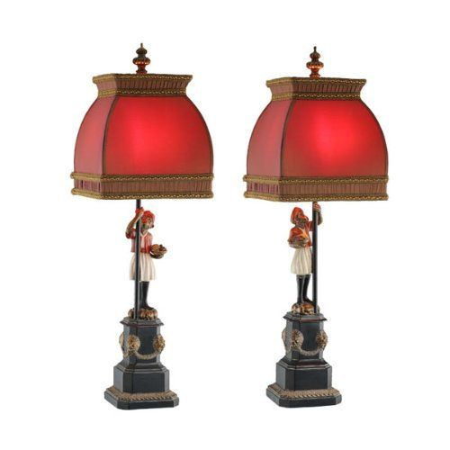 Arabian Monkey Lamp With Red Shade Traditional Style Pair Lamp Table Lamp Red Lamp Lamps with red shades
