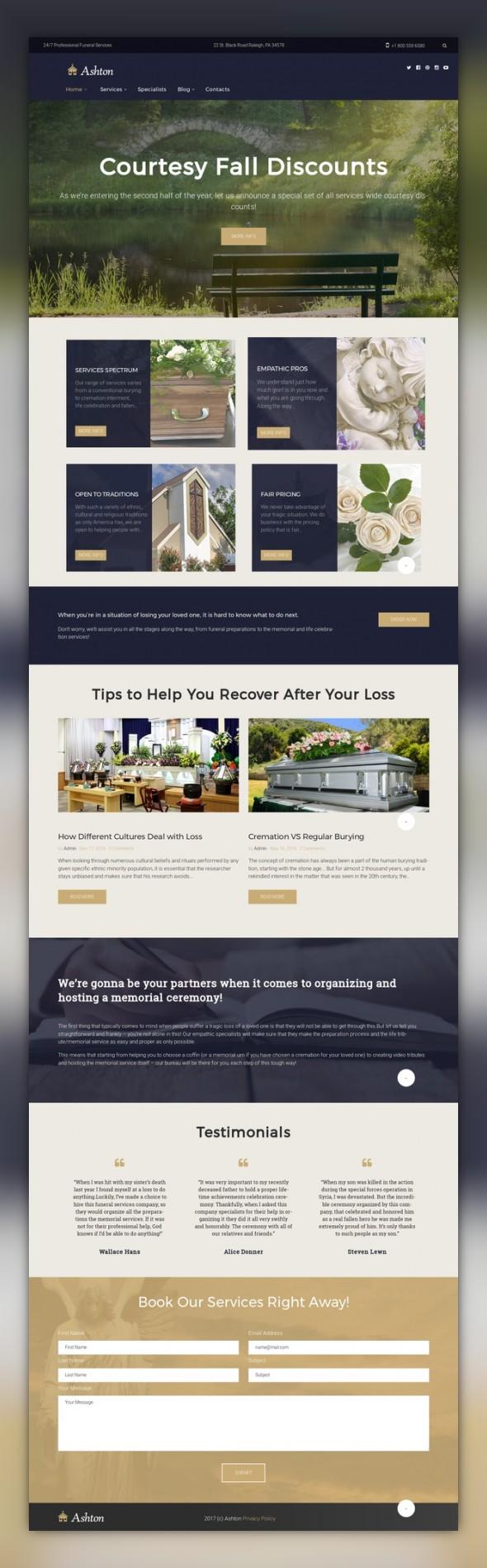 Ashton - Funeral & Cemetery Services WordPress Theme   Pinterest