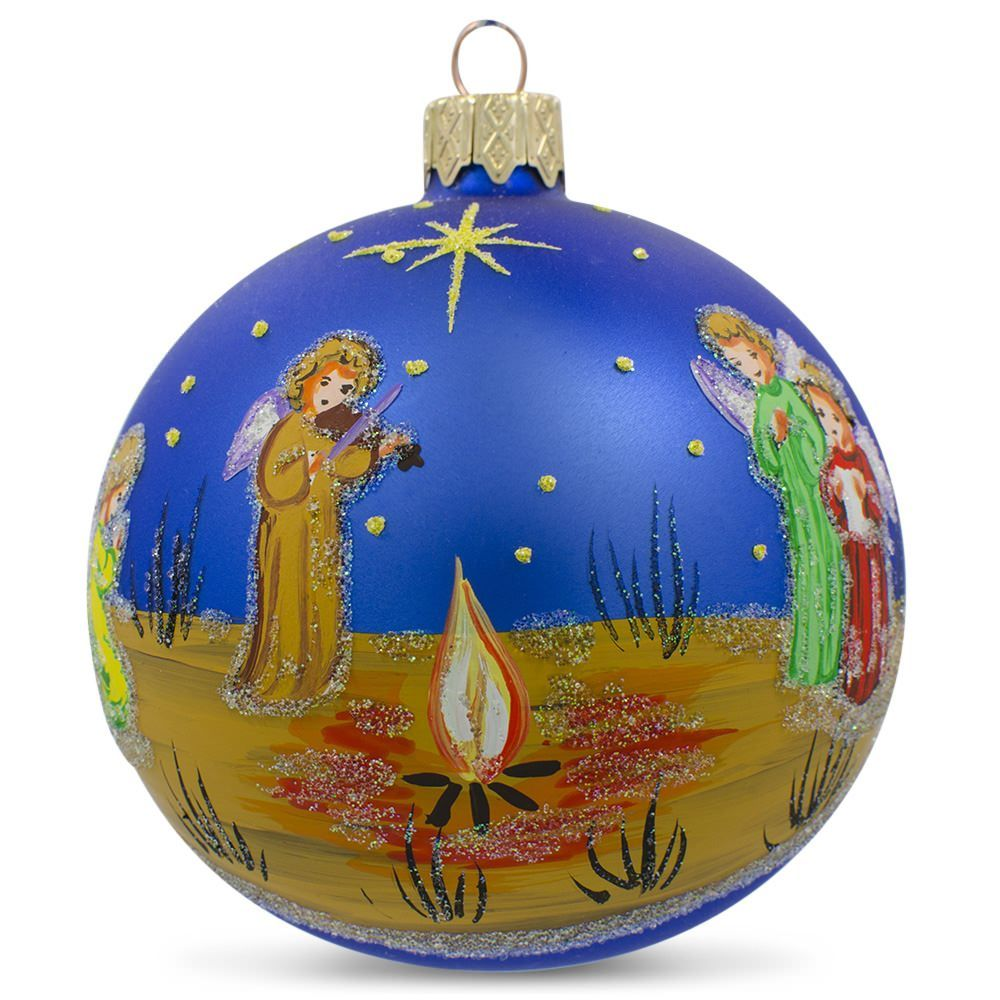 Violin christmas ornaments - 3 25 Angels In The Night Playing Violin Glass Ball Christmas Ornament