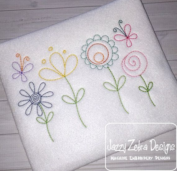 Flowers and Butterflies machine Embroidery Design - instant download ...