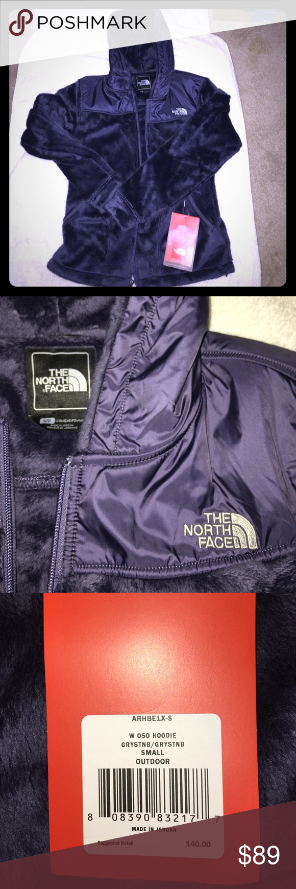 NWT North Face OSO Fleece Hoodie Brand new with tags, never worn.  Authentic North Face fleece.  Size women's Small.  Greystone blue color. North Face Jackets & Coats