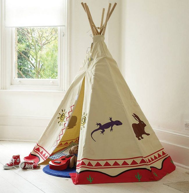 tipi zelt kinderzimmer indianer spielzelt holz stoff muster tiere kinderzimmer pinterest. Black Bedroom Furniture Sets. Home Design Ideas