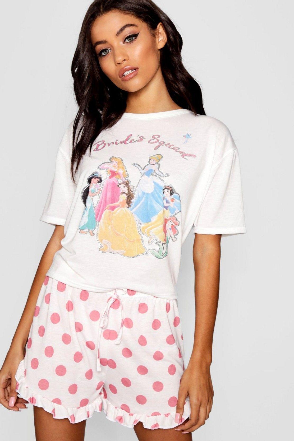 Disney Princess  Brides Squad  Frill PJ Short Set in 2019  cbb017500