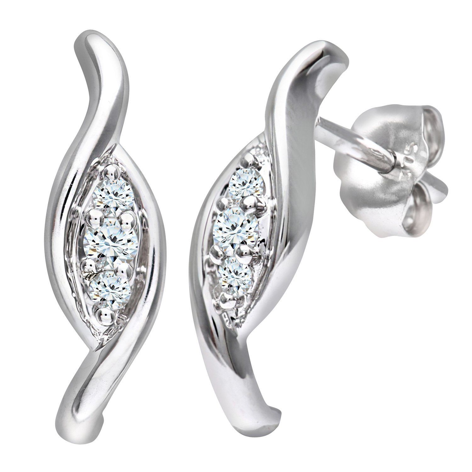 Naava Women's 9 ct White Gold 0.10 ct Diamond Fancy Earrings HD1ifHCXQM