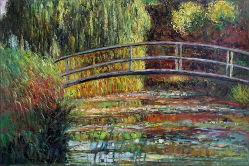 Details About Claude Monet Bridge Over Water Lily Pond Repro Hand