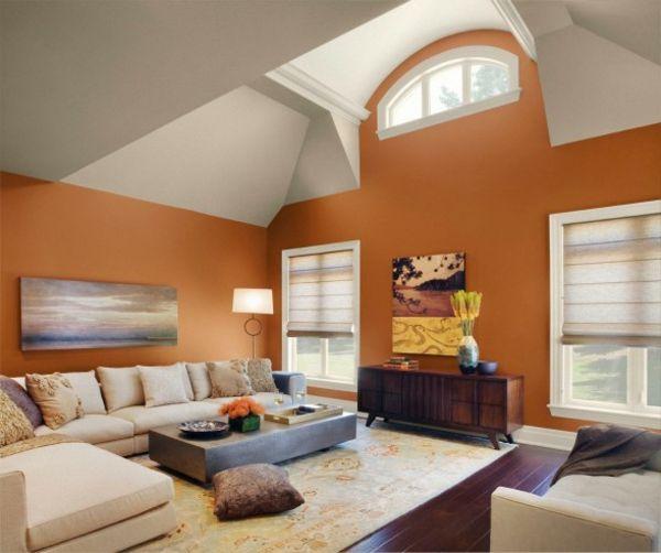 neues-interieur-fürs-wohnzimmer-mit-warmer-wandfarbe-palette- hohe - wohnzimmer orange streichen