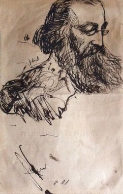 Portrait of George MacDonald lecturing drawn by Dante Gabriel Rossetti (1828-1882) on the back of an admission ticket to one of George's lecture series.
