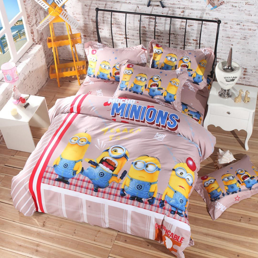 Minion Bed Sheets Set Queen King Twin Size Super Soft Material 100 Cotton 5pcs Comforter Made Using Reactive Printing Technology Free Shipping
