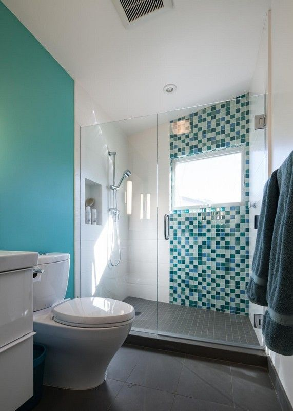 Blue Bathroom Decoration Using Mosaic Glass Turquoise Bathroom Wall Décor  Including Light Blue Bathroom Wall Paint And Clear Glass Double Shower Doors  Of ...