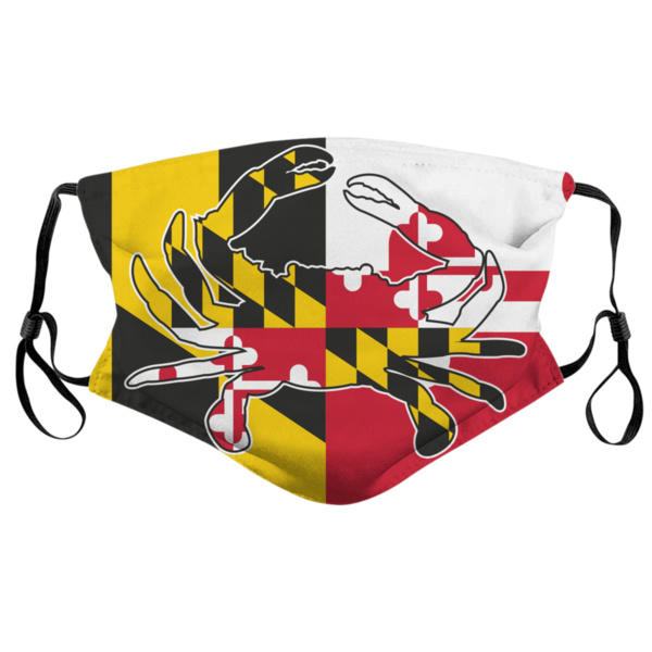 Crab With Maryland Flag Face Mask In 2020 Maryland Flag Face Mask Flag Face
