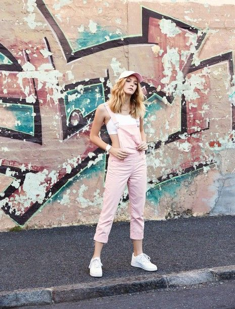 88ffddf25d7  90 Pale Pastel Pink Denim Dungarees With Matching Urban Pastel Pink  Baseball Cap White Sports Bra And White Sneakers Trends From My Life In Pink  Blogger s ...