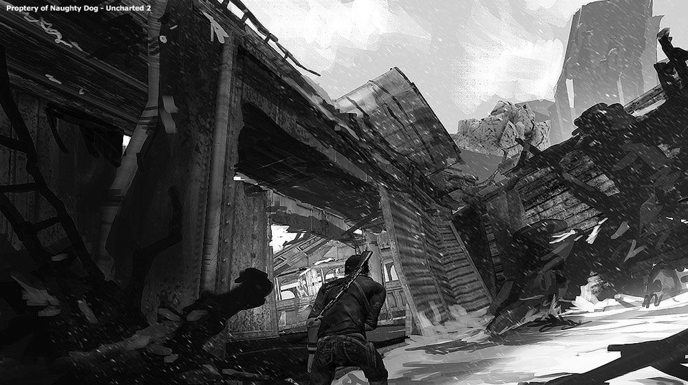 Train Wreck Characters Art Uncharted 2 Among Thieves