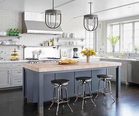 gray kitchen island, pale butcher block top  #kitchen #interiordesign #design #countertops