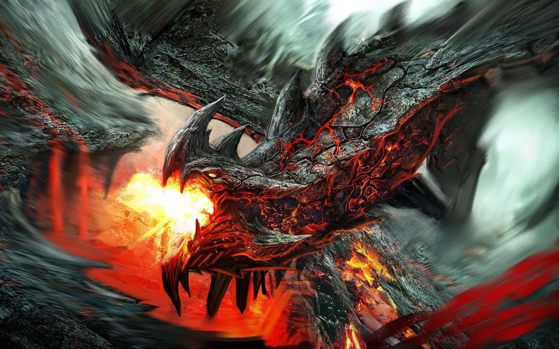 fire-breathing dragon   fire breathing lava dragon hd wallpaper