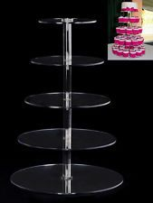 New Round Crystal Clear Acrylic Cupcake Stand Wedding Display Cake