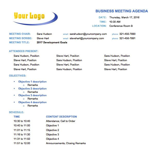 Business Meeting Agenda Templates Free Sample Example Template Word