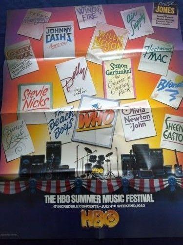 HBO Home Box Office Summer Music Festival Poster 1983 Who Simon Garfunkel  Dolly