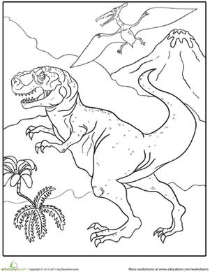 color the fierce tyrannosaurus rex | dinosaur coloring