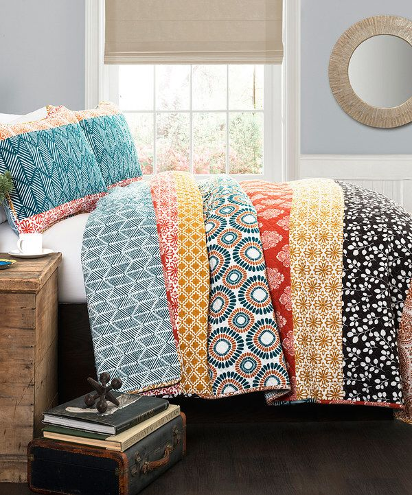 Look at this Turquoise & Coral Anneka Quilt Set on #zulily today!