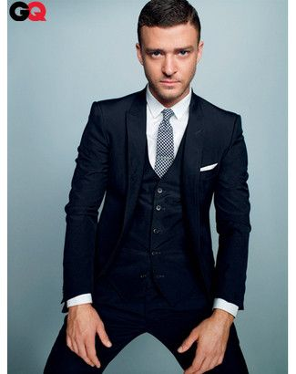Justin Timberlake wearing Navy Three Piece Suit, White Dress Shirt ...