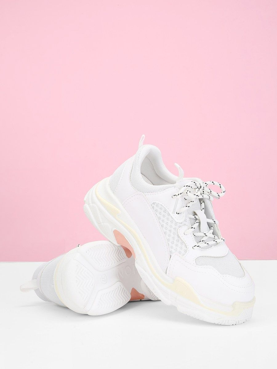 Lace-Up Contrast Mesh Sneakers