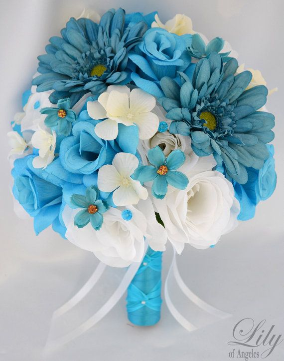 17 piece package wedding bridal bride bouquet silk flower 17 piece package wedding bridal bride bouquet silk flower centerpieces flowers turquoise malibu teal white lily of angeles tuwt03 mightylinksfo