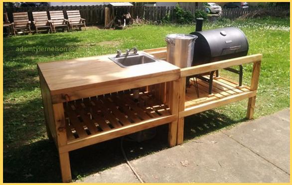 Building A Diy Backyard Kitchen Using Reclaimed Materials Wood Pallets Diy Outdoor Kitchen Backyard Kitchen