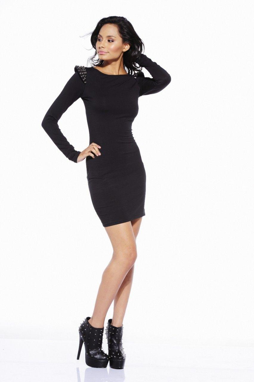 Long Sleeve Fitted Dress Black Dress Little Black Dress [ 1280 x 852 Pixel ]