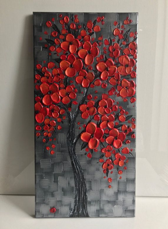 Red cherry blossom tree painting, Original Painting, silver red wall art decor, textured abstract art, impasto painting -  - #backgrounds