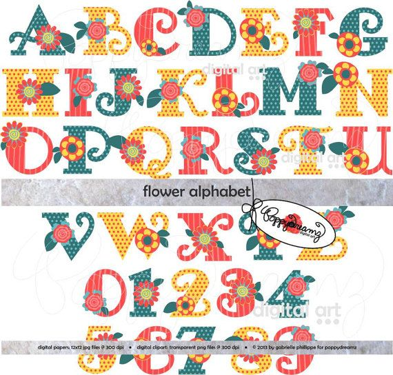 Flower Alphabet Clip Art Pack  Dpi Transparent Png Card