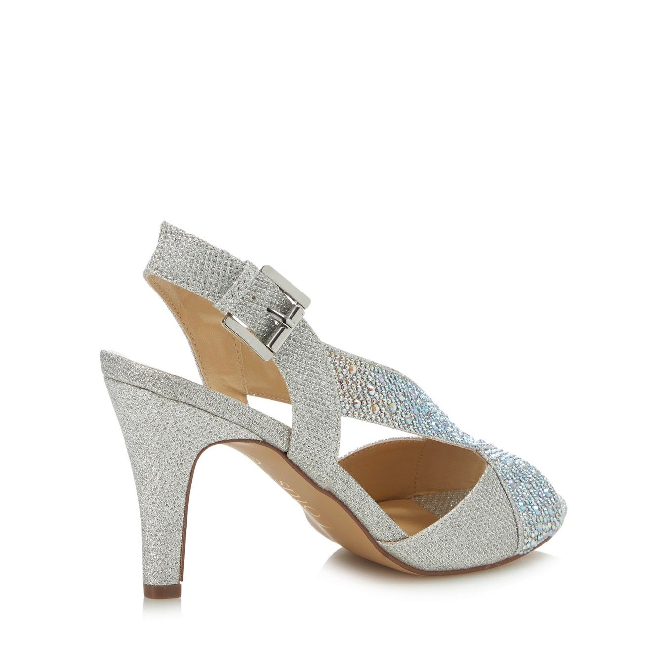 bb70103433 Silver Diamante 'Anya' High Stiletto Heel Peep Toe Shoes | Mother of ...