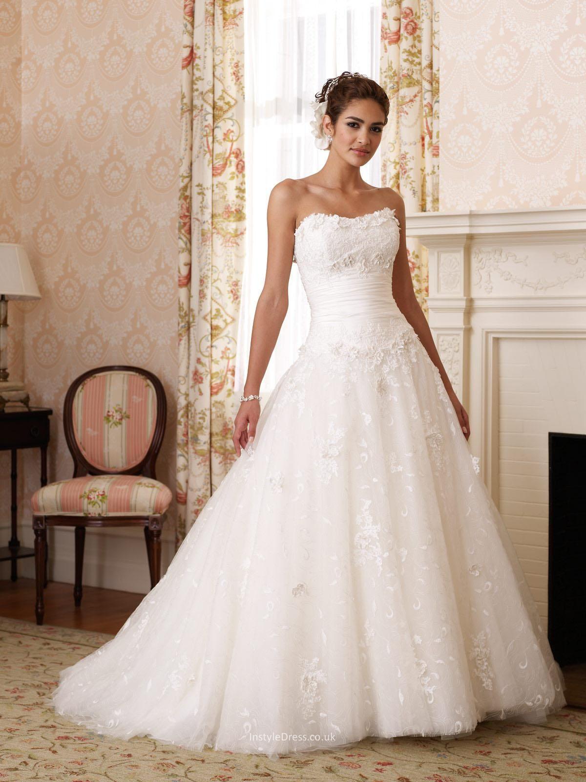Ball gowns wedding dresses  Strapless allover lace and taffeta princess Ball Gown wedding dress