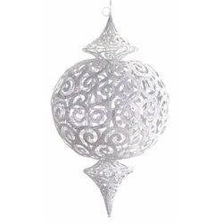 2 Pre-Lit Commercial Size White Glittered Cut-Out Christmas Ornaments 28