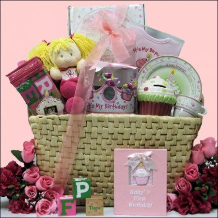 Baby Birthday Gift Basket 1st Girl Gourmet Artisan Foods Boxes Baskets Bullszi