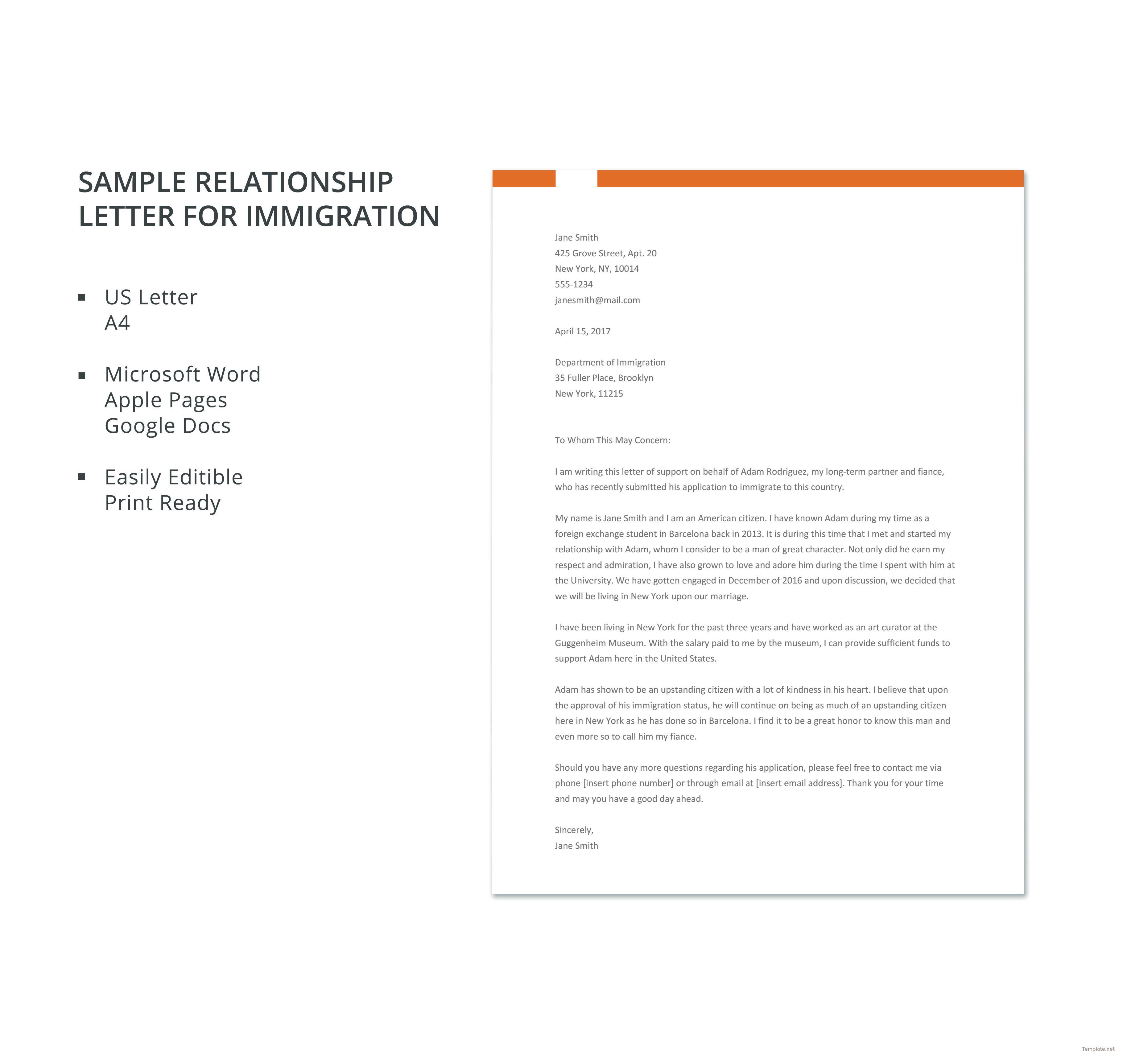 Free Sample Relationship Letter For Immigration Lettering