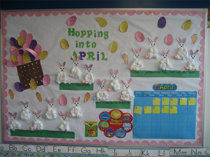 May Calendar Decorations : Hopping into april bulletin board idea
