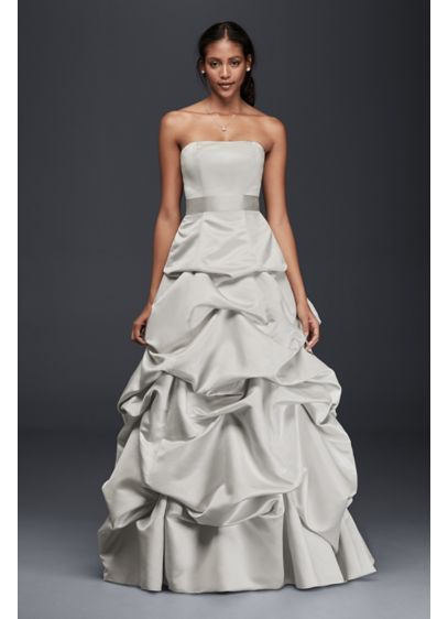 Strapless Drop Waist Ball Gown With Skirt Pickups Op1282