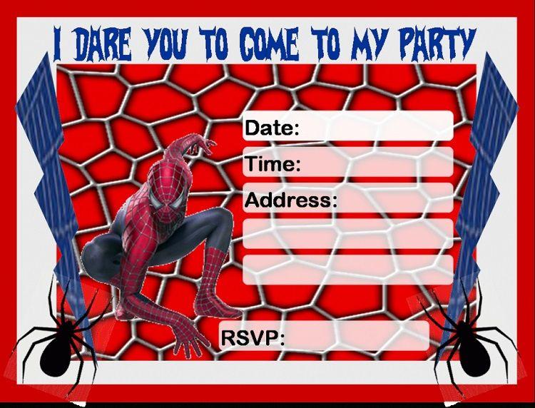 Printable Spiderman Birthday Invitations Invitation Ideas