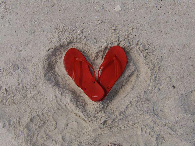 ec8930593701 valentines flip flops - red flip flops heart shape in sand ...