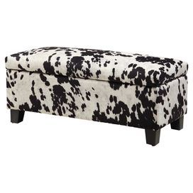 Lucas Storage Bench Storage Ottoman Bench Cowhide Fabric Cowhide Print