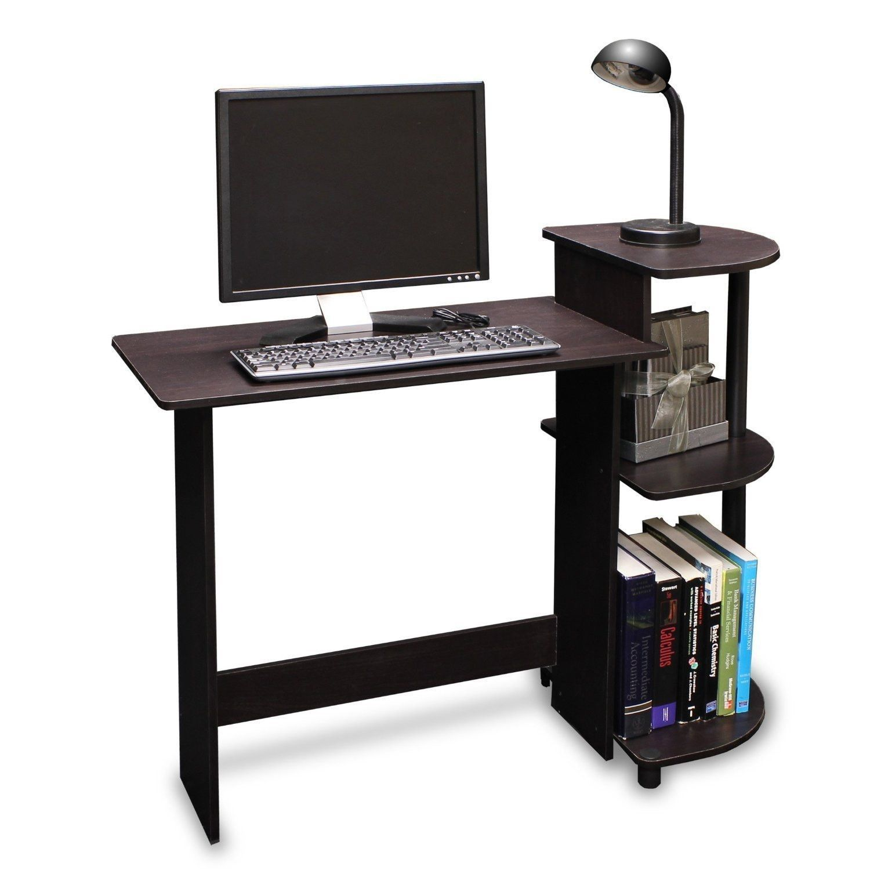 Simple Compact Computer Desk In Espresso Black Finish Small Computer Desk Desks For Small Spaces Compact Computer Desk
