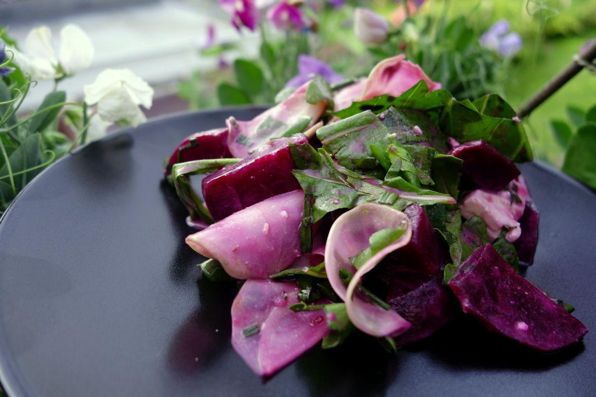 Homegrown kohlrabi and beetroot salad with honey mustard dressing.