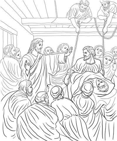 Jesus Heals Paralytic Man Coloring Page Bible Coloring Pages