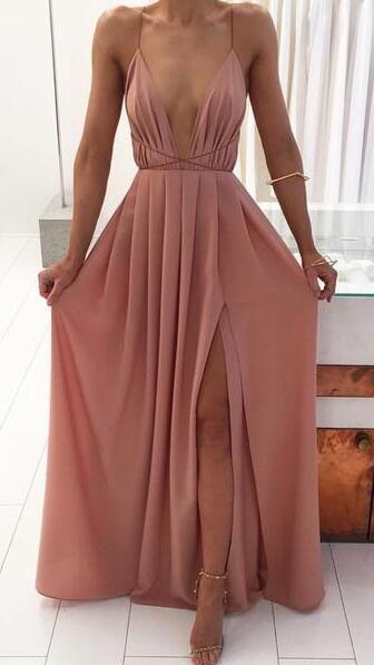 simple pink long prom dress with side slit, cheap prom dress under 2019, boho prom dress, formal evening dress #formaldresses